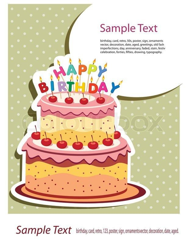 Card Invitation Design Ideas: Card With Birthday Cake Vector ...