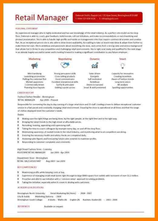 Retail Manager Resume Template, business development manager cv ...
