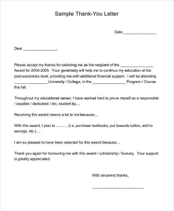Sample Award Thank You Letter  Resume Template Sample