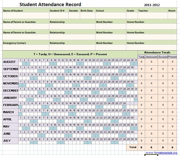 Attendance Sheet Template | Sample Format