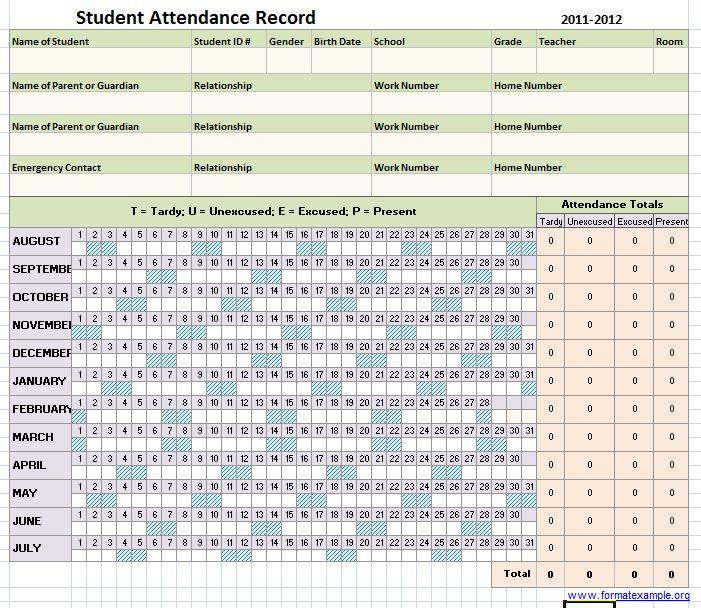 excel student attendance sheet template