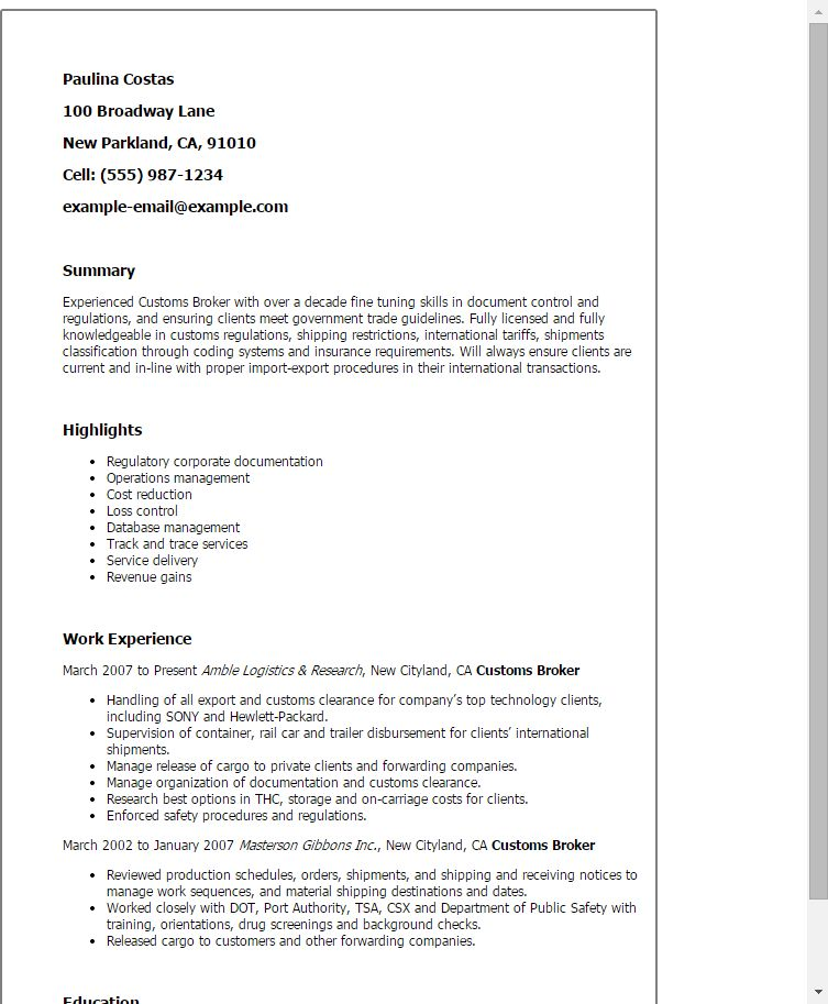 Download Brokerage Clerk Sample Resume | haadyaooverbayresort.com