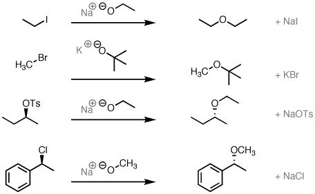 SN2 reaction of alkoxide ions with alkyl halides to give ethers ...