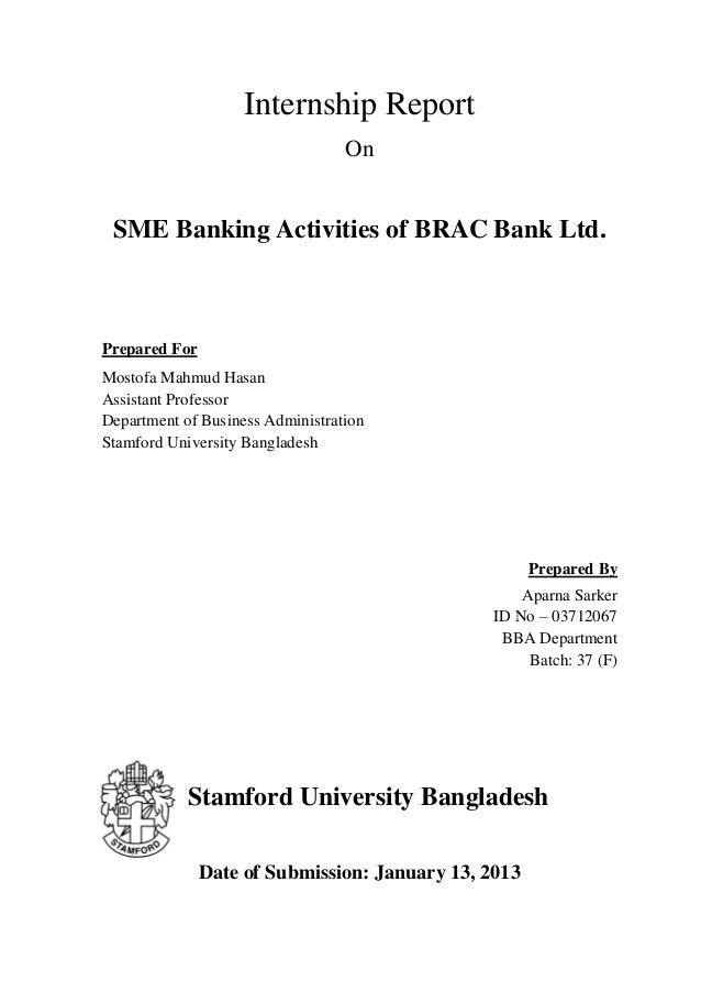 Brac sme banking activitis letter of transmittal