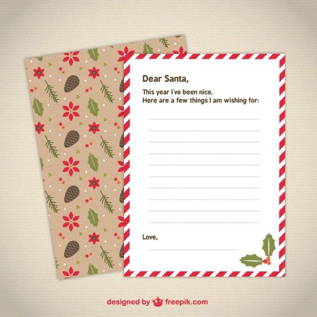 Cute letter template to Santa Vector | Free Download