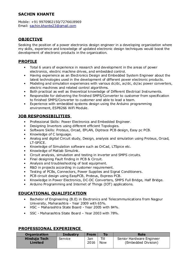 Power Electronics Engineer Resume - Sachin Khante