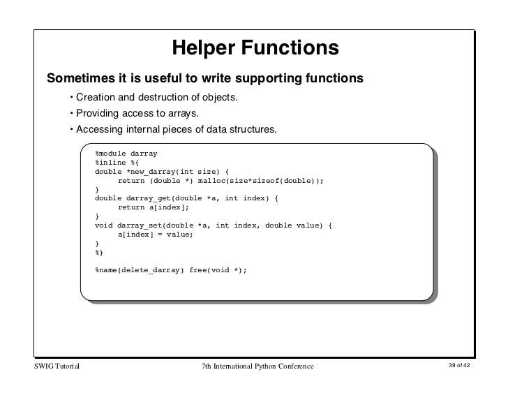 Interfacing C/C++ and Python with SWIG