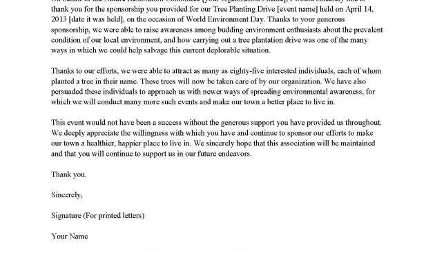 Thank You Letter Samples. Sponsorship Thank You Letter Sample .