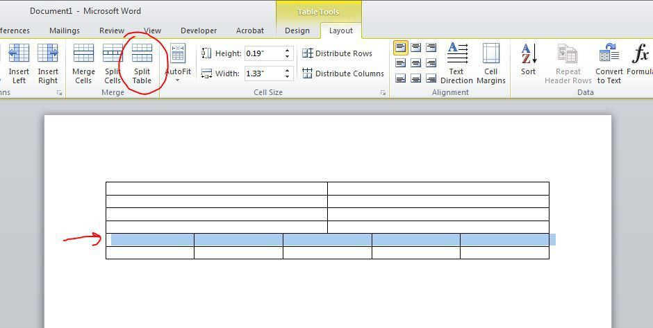 How to insert text line between two tables in Microsoft Word ...