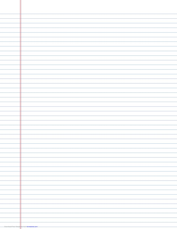 Wide-Ruled Lined Paper on Ledger-Sized Paper in Portrait ...
