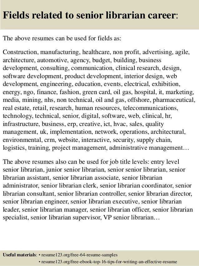 Top 8 senior librarian resume samples