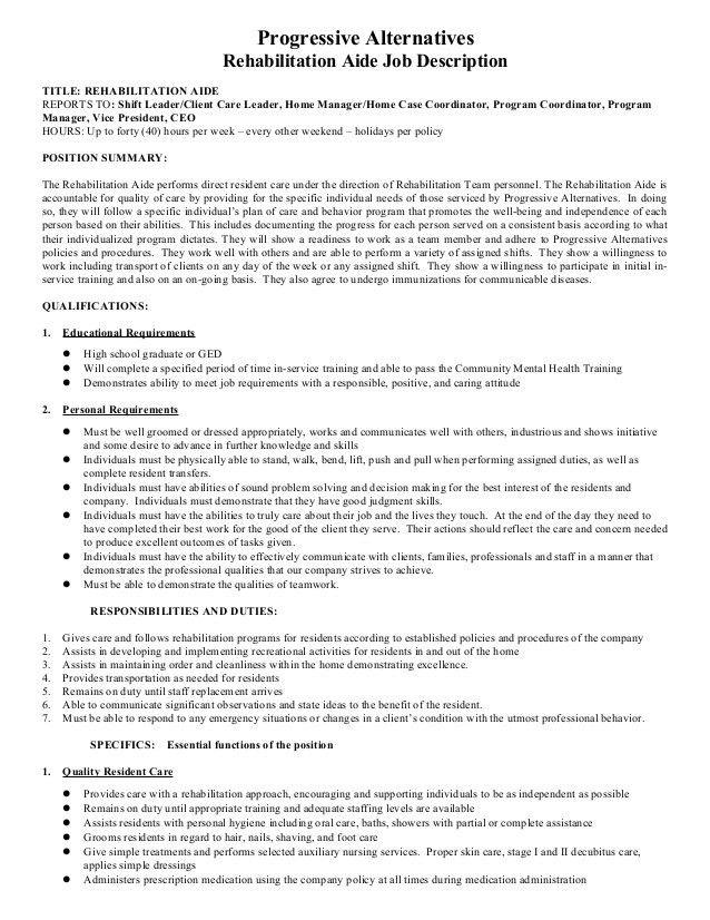 Rehab Aide Job Description Final Version 03-2014