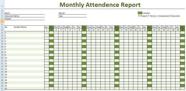 Attendance Sheet Excel Template - formats.csat.co