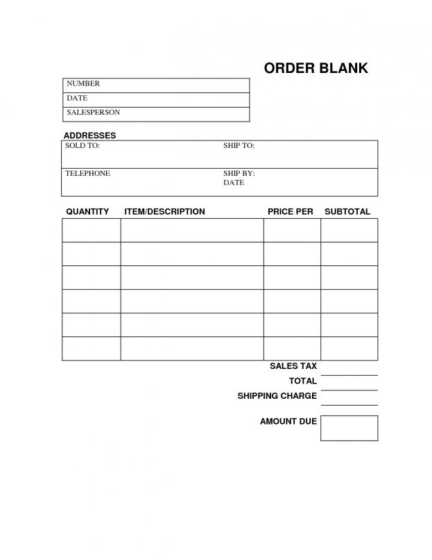 Blank Printable Order Forms Free Blank Order Form Template and ...