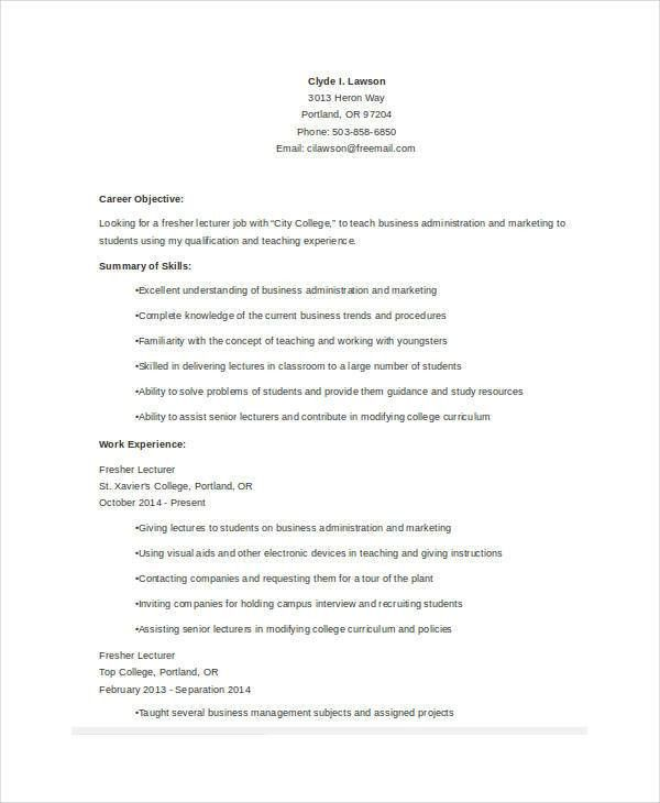 Basic Teacher Resumes -29+ Free Word, PDF Documents Download ...