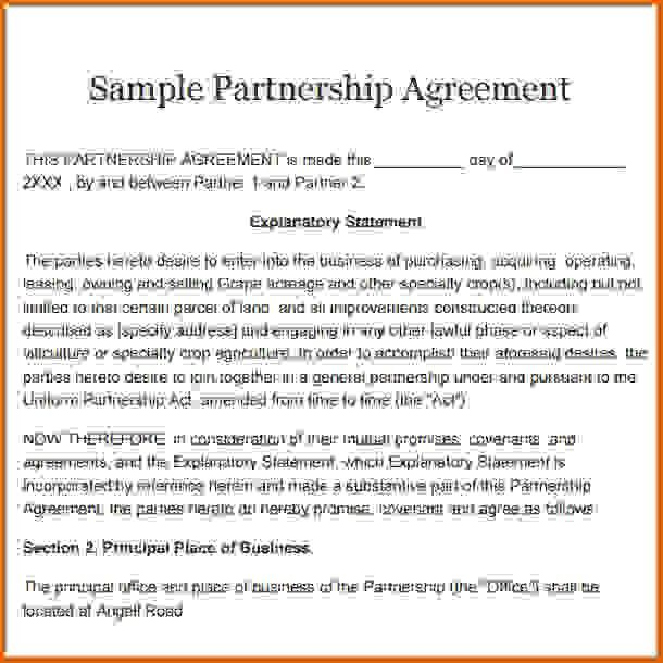 free partnership agreement formReference Letters Words | Reference ...