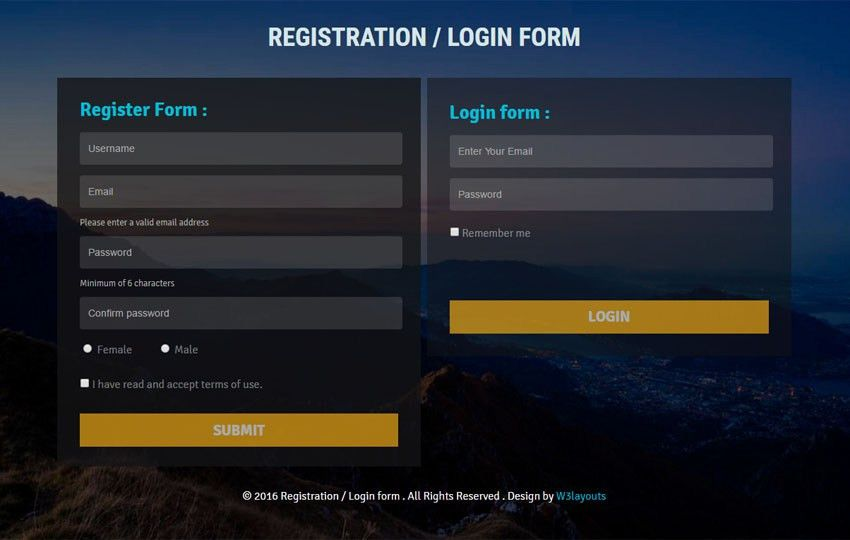 Registration Form - w3layouts.com
