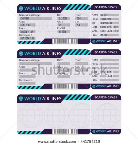 Airline Plane Ticket Boarding Pass Blank Stock Illustration ...