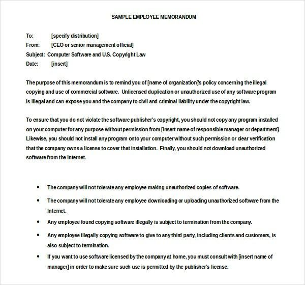 employee memo template