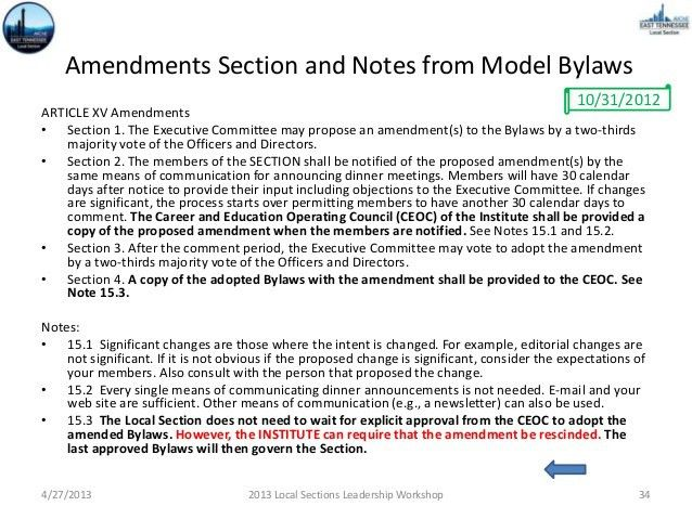 Local Section Bylaws Revisions