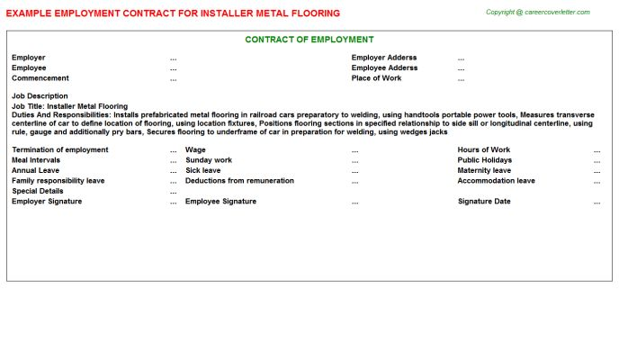 Installer Metal Flooring Job Title Docs