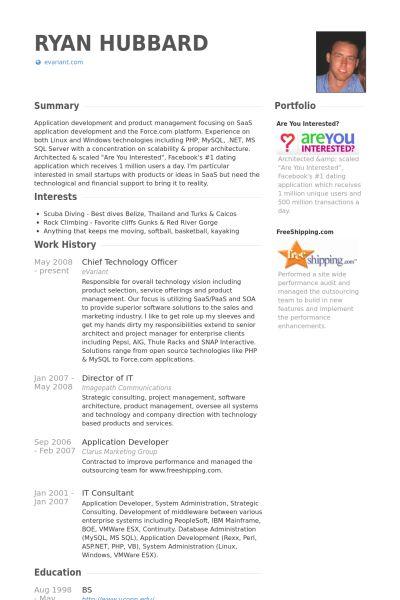 Chief Technology Officer Resume samples - VisualCV resume samples ...