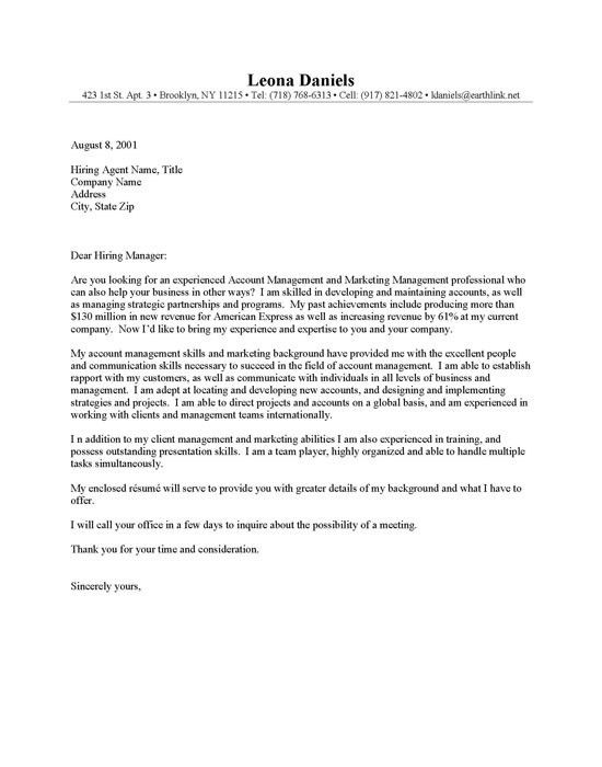 Management Cover Letter Sample | Experience Resumes