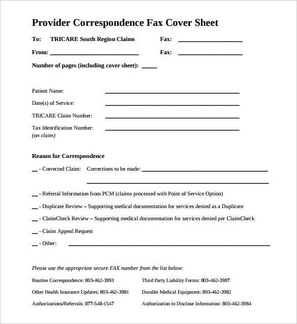 8+ Medical Fax Cover Sheet Templates – Free Sample, Example Format ...