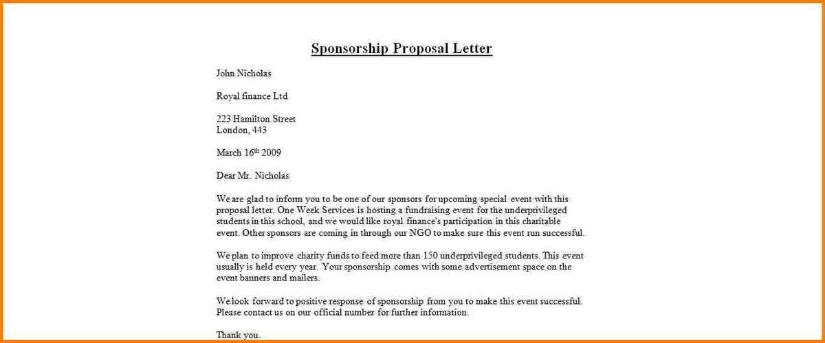 5+ sponsorship proposal letter | quote templates