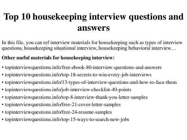Top 10 housekeeping interview questions and answers