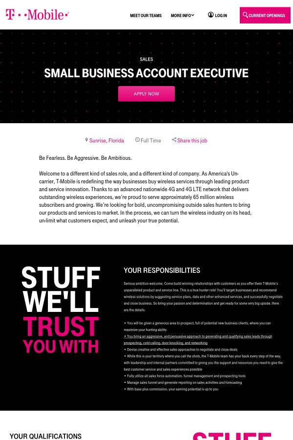 Small Business Account Executive job at T-Mobile in Sunrise, FL ...