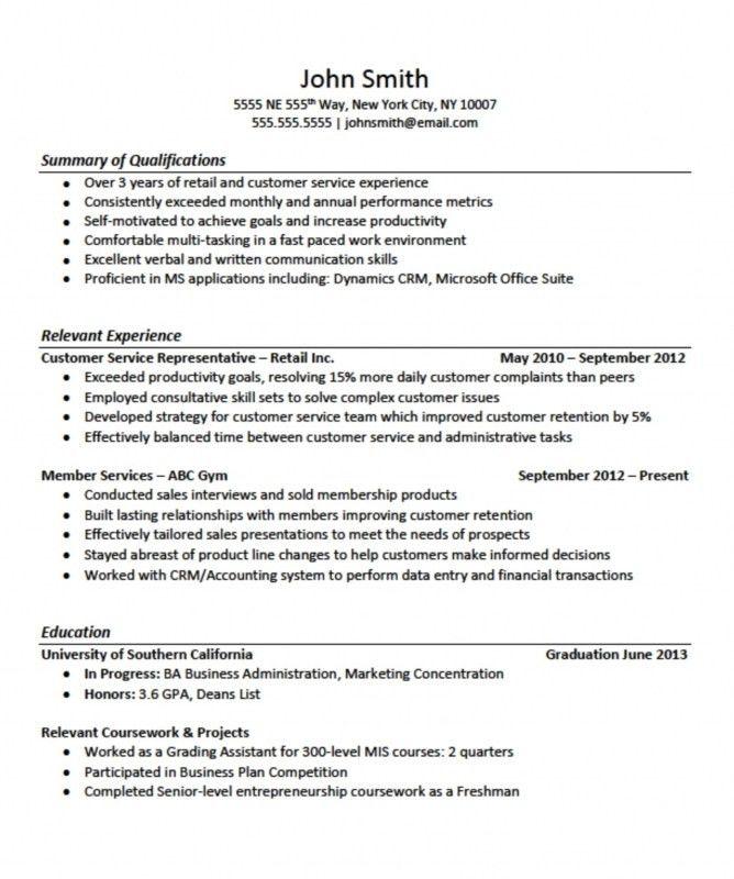 No Job Experience Resume Example - formats.csat.co