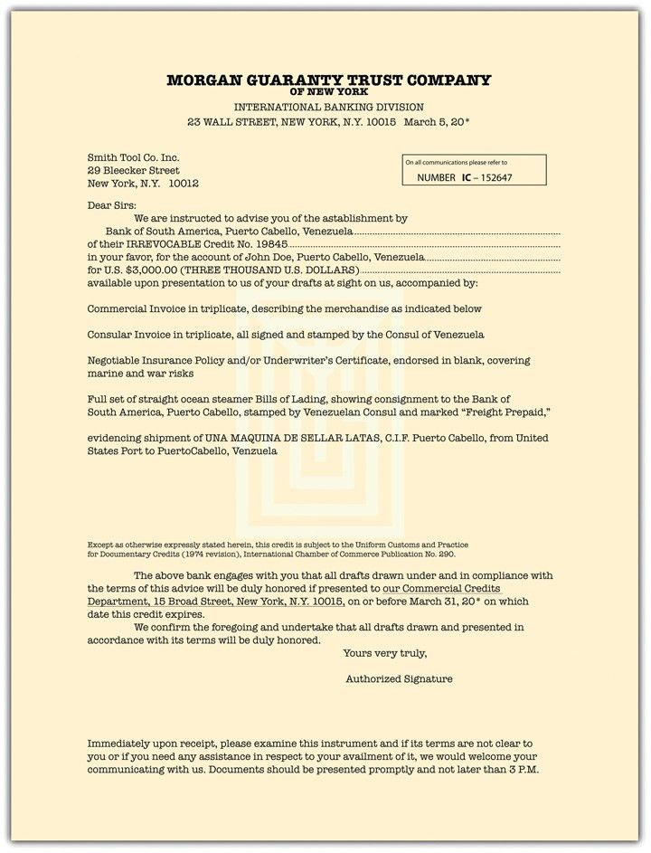 Wholesale Transactions and Letters of Credit