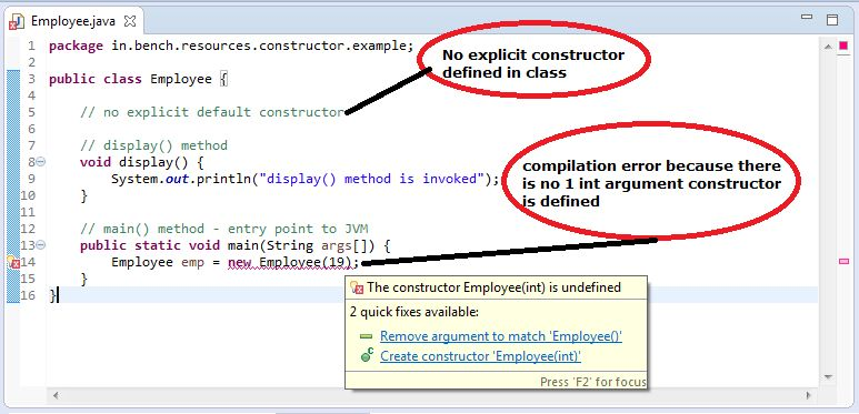 Java: Default Constructor with example - BenchResources.Net