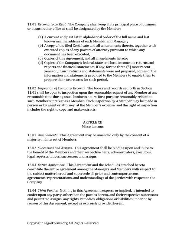 Michigan Multi Member LLC Operating Agreement | LegalForms.org