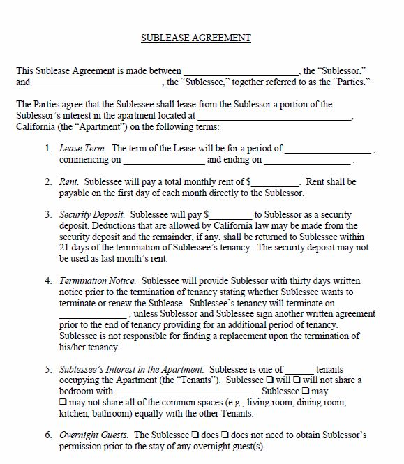 Free Printable Sublease Agreement - Printable Agreements