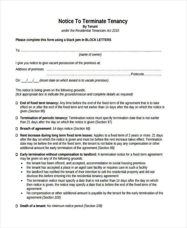 Notice To Terminate Lease Agreement Lease Agreement Termination ...