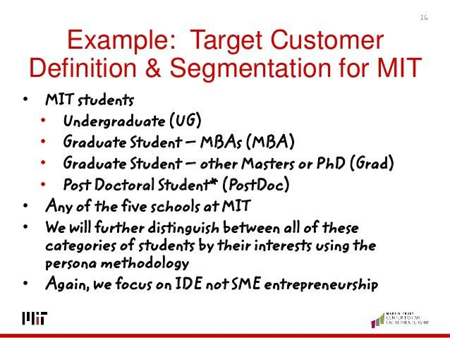 Example: Target Customer Definition &