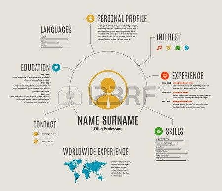Resume Web Infographic Template Cv With World Map And Icons ...