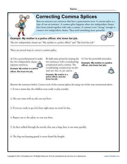 Correcting Comma Splices | Punctuation Worksheets