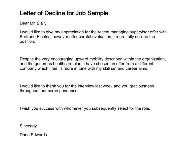 Letter of Decline