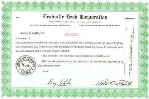 Leadville Lead Specimen Stock Certificate