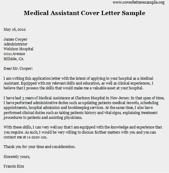 Medical Assistant Cover Letter Sample] Medical Assistant Cover