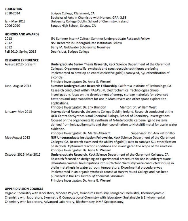 Sample Udergraduate Senior Thesis Resume - http://exampleresumecv ...