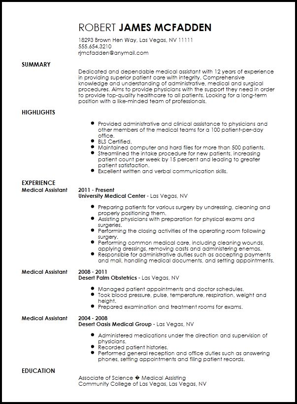 Free Traditional Medical Assistant Resume Template | ResumeNow