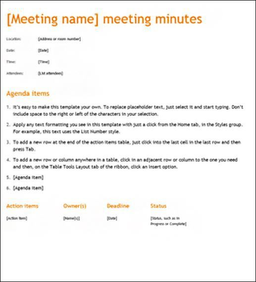 to minute a meeting - Template