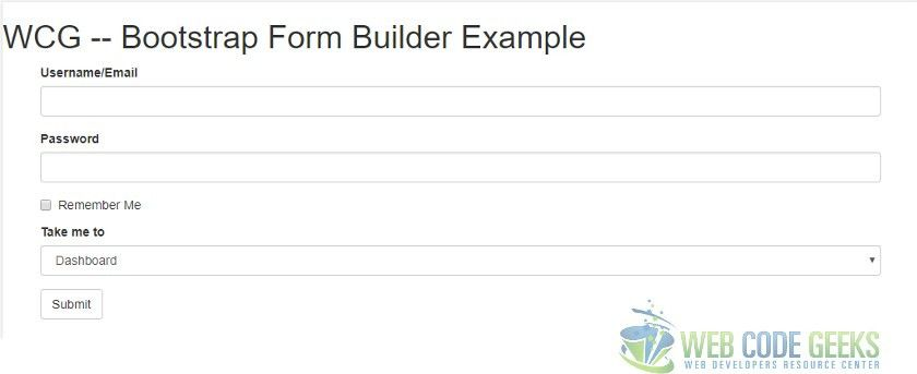 Bootstrap Form Builder Example | Web Code Geeks - 2017
