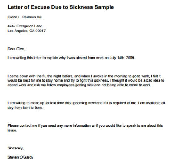 Excuse Letter For School - Writing Professional Letters