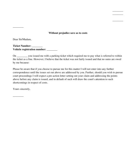 Private Parking Fine Appeal Letter - Sample, Template