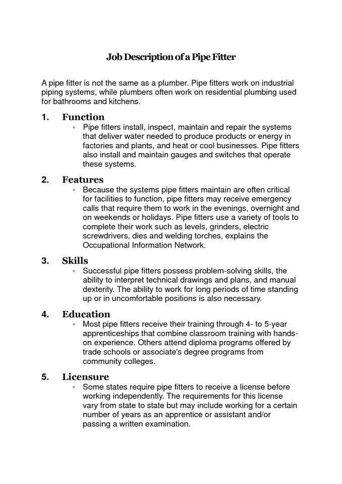 Job description of a pipefitter | Did you know? | Pinterest | Job ...